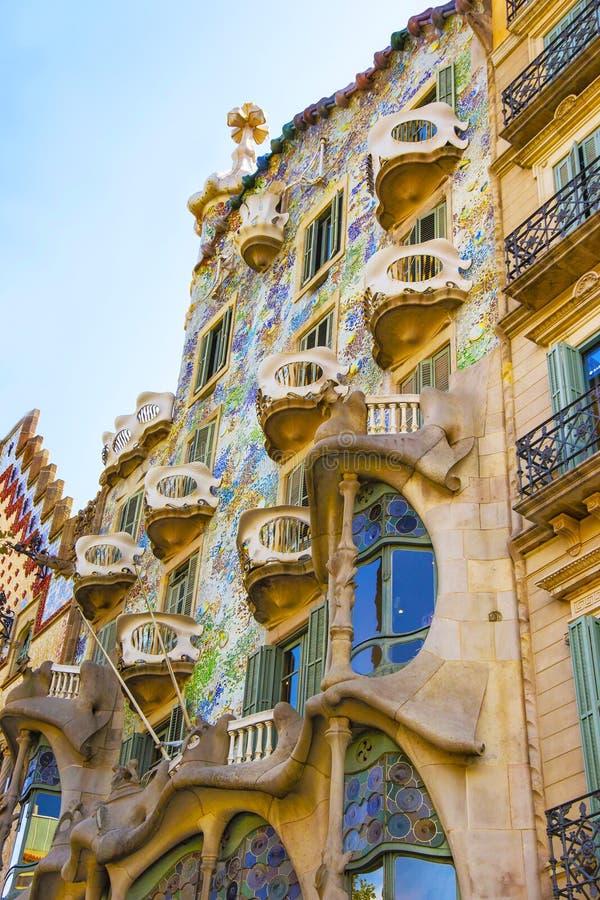 Windows of Casa Batllo building in Barcelona in Spain stock images