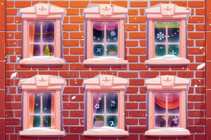 Windows with Christmas and New Year decoration. Windows of house or castle with Christmas and New Year decoration, brick wall facade with casements decorated royalty free illustration
