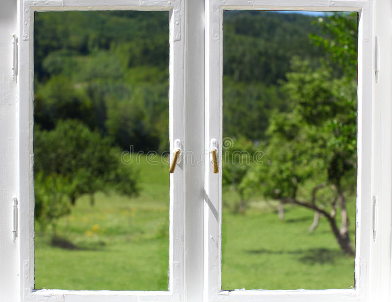 Download Windows Closed With A View On Apple Orchard Stock Photo - Image: 25394776