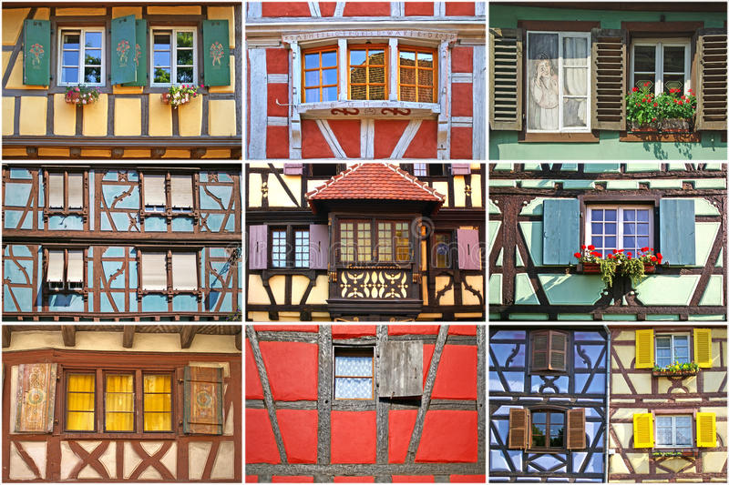 Windows collage. El'zas, France royalty free stock photography