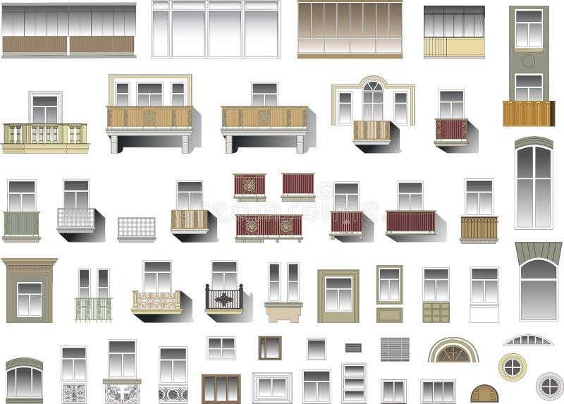Download Set Of Windows And Balconies In Vector Stock Vector - Image: 15475831