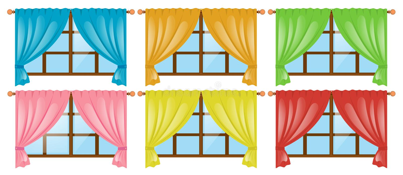 Windows com as cortinas diferentes da cor ilustração stock