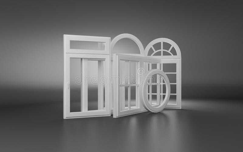 Windows 3d. Render of windows in 3d stock illustration