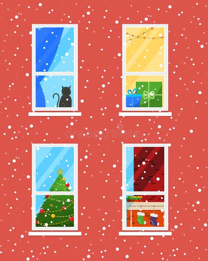 Windows dans l'horaire d'hiver Fond sans fin de ville de vacances de Noël et de nouvelle année illustration libre de droits