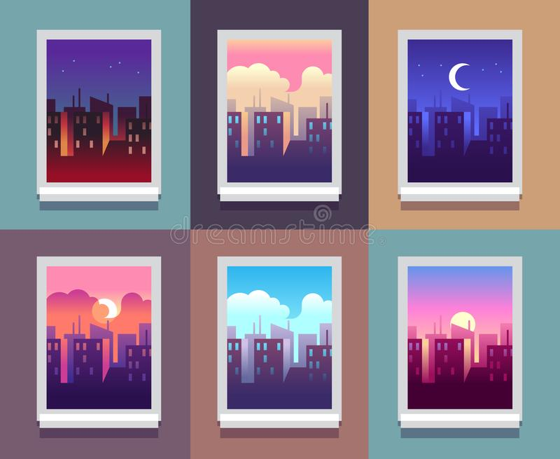 Windows day time. Early morning sunrise sunset, noon and dusk evening, night cityscape skyscrapers inside home window. Vector concept stock illustration