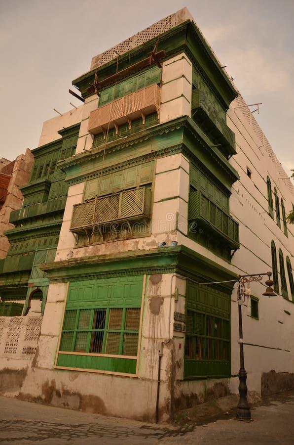 Windows de construção velho, história da cidade de Jeddah foto de stock royalty free