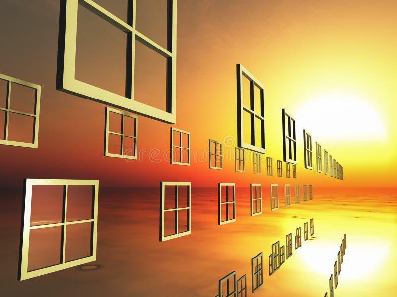 Windows de la opción en puesta del sol fotografía de archivo libre de regalías