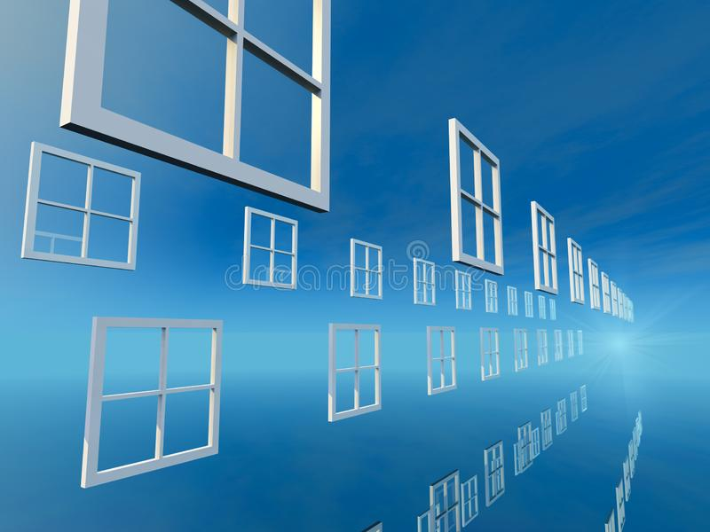Windows des auserlesenen hellen blauen Tages stock abbildung