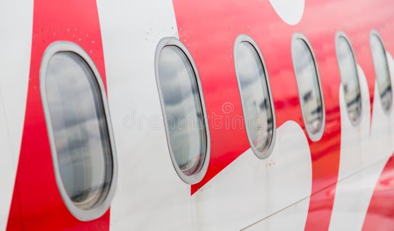 Windows do avião imagem de stock