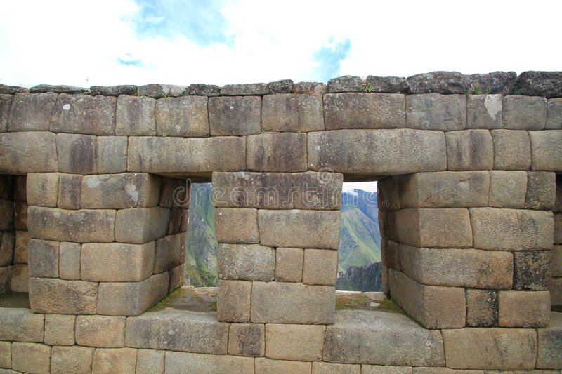 Windows do templo do Inca de Machu Picchu fotos de stock royalty free