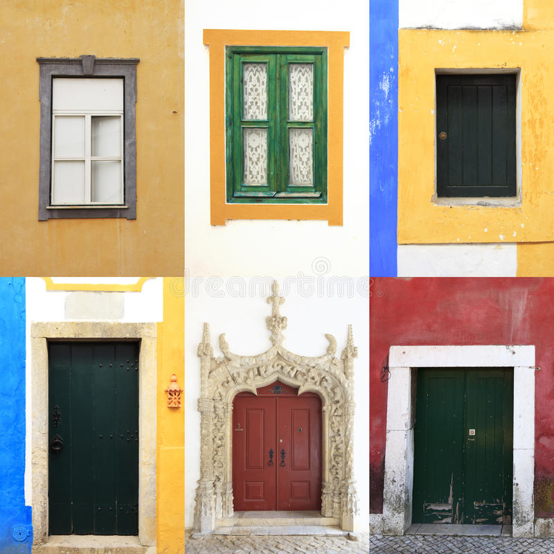 Windows doors colorful portugal collection. Six colorful windows and doors in portugal. A collection of traditional and old portuguese urban walls stock photography