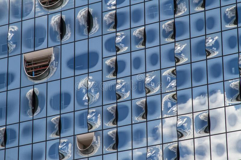 The windows of the Elbphilharmonie building in Hamburg stock images