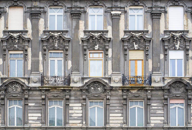 Windows on the facade in neo-baroque style. Budapest, Hungary.  royalty free stock image