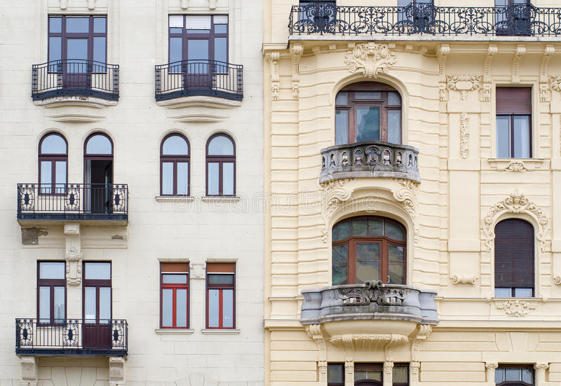 Windows on the facade in neo-baroque style. Budapest, Hungary.  stock images