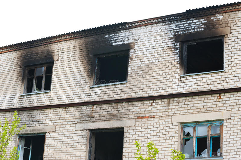 Windows after fire stock image