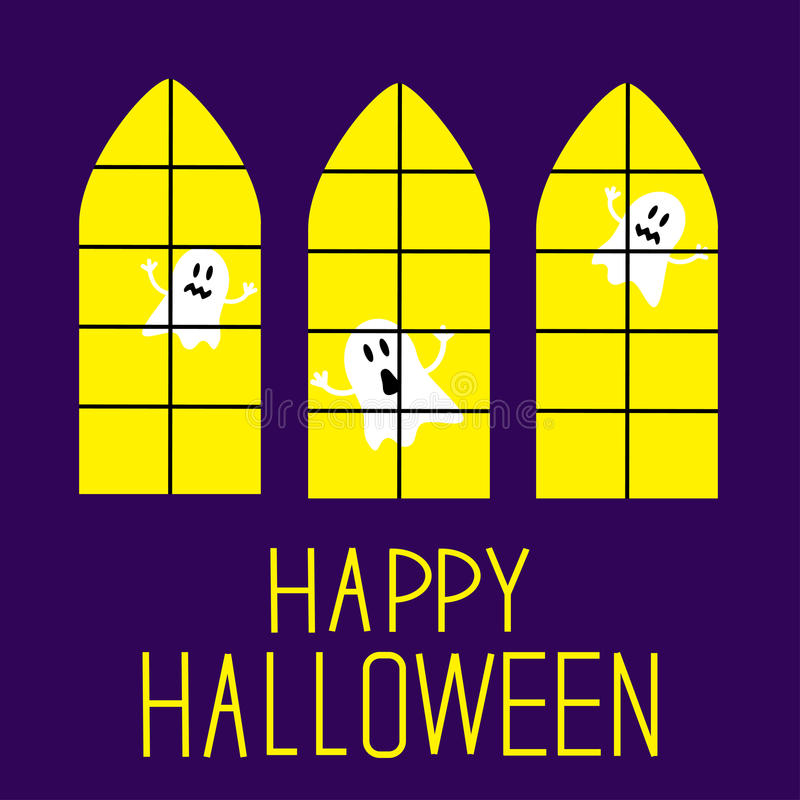 Windows With Ghosts. Happy Halloween Card. Stock Images