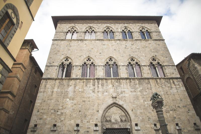 Windows in Gothic style on old building royalty free stock photo