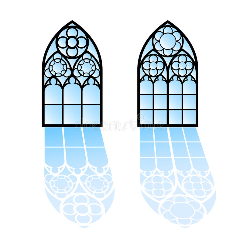 Windows gothique Cadres de vintage Hublots de verre coloré d'église illustration stock