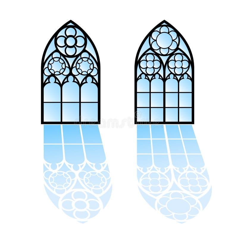 Windows gothique Cadres de vintage Hublots de verre coloré d'église illustration stock