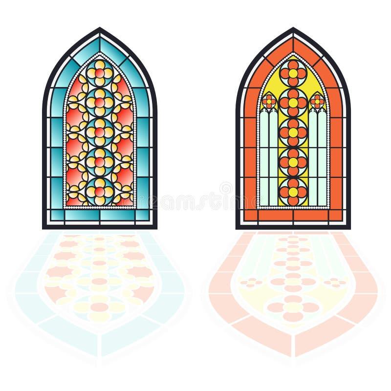 Windows gotico Strutture d'annata Finestre di stained-glass della chiesa illustrazione vettoriale