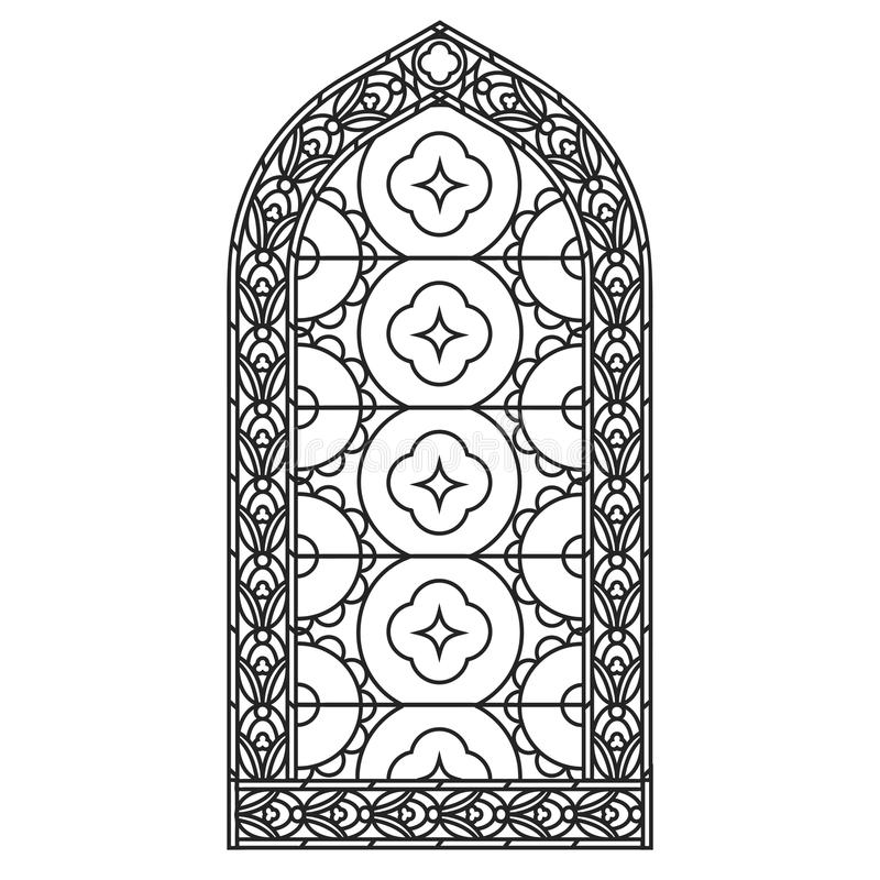 Windows gotico Strutture d'annata Finestre di stained-glass della chiesa royalty illustrazione gratis