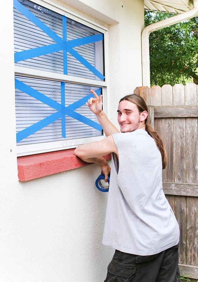 Windows ha legato per l'uragano fotografia stock
