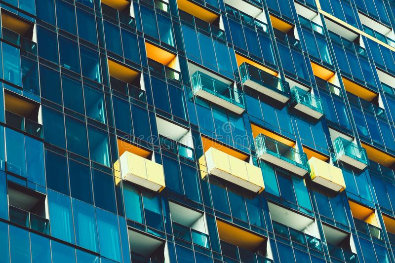 Windows in high rise building. Closeup of windows in high rise building in downtown Melbourne, Australia stock image