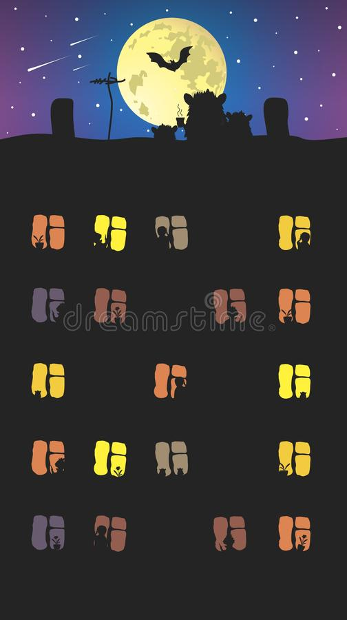 Windows of high-rise buildings. High-rise windows and rooftop mice. Vector format vector illustration