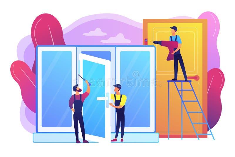 Windows i drzwi usług pojęcia wektoru ilustracja ilustracja wektor