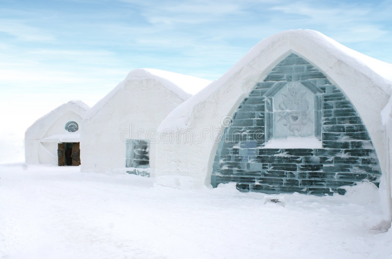Windows of Ice hotel Quebec. stock photo
