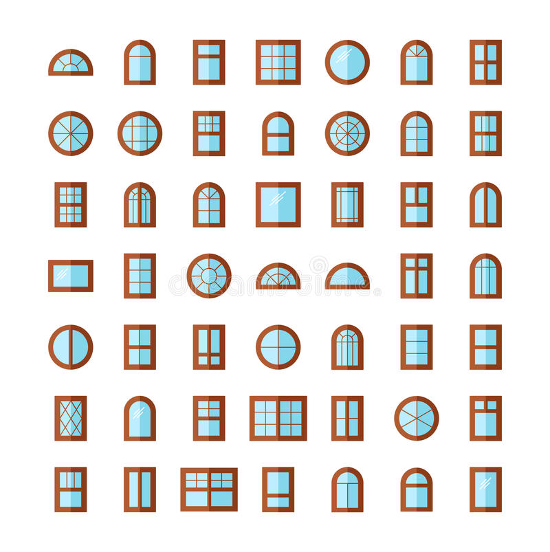 Wooden windows. Architecture elements. Flat icons collection. Traditional, french, arch and round window frames. Isolated royalty free illustration
