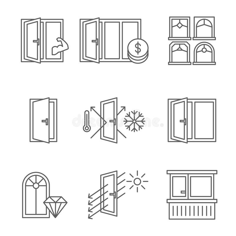 Windows icon set with door and balcony. Lines design isolated on white background. Stock vector vector illustration
