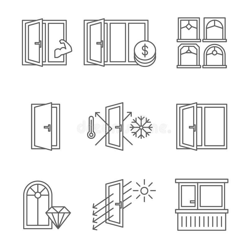 Windows ikona ustawiająca z drzwi i balkonem Linie projektują odosobnionego na białym tle ilustracja wektor