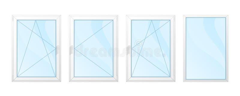 Windows med den isolerade vitramar och blåa exponeringsglasuppsättningen royaltyfri bild