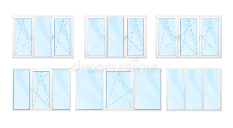 Windows med den isolerade vitramar och blåa exponeringsglasuppsättningen royaltyfria bilder