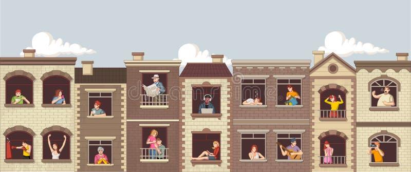 Windows med tecknad filmfolk stock illustrationer