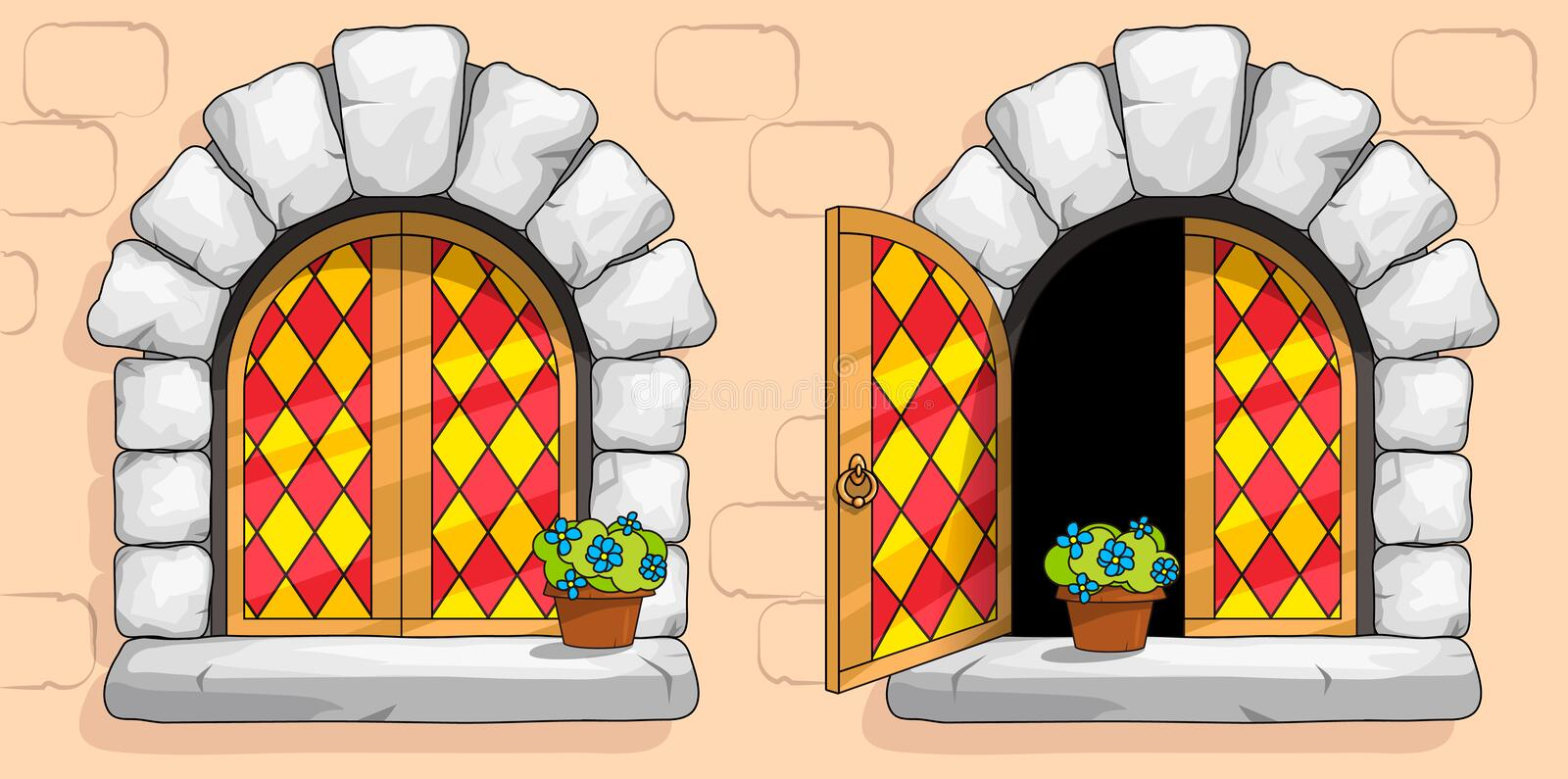 Medieval window, red stained glasses, white stones. The windows of a medieval ancient old castle or fortress are framed with a gold frame. Open and closed vector illustration