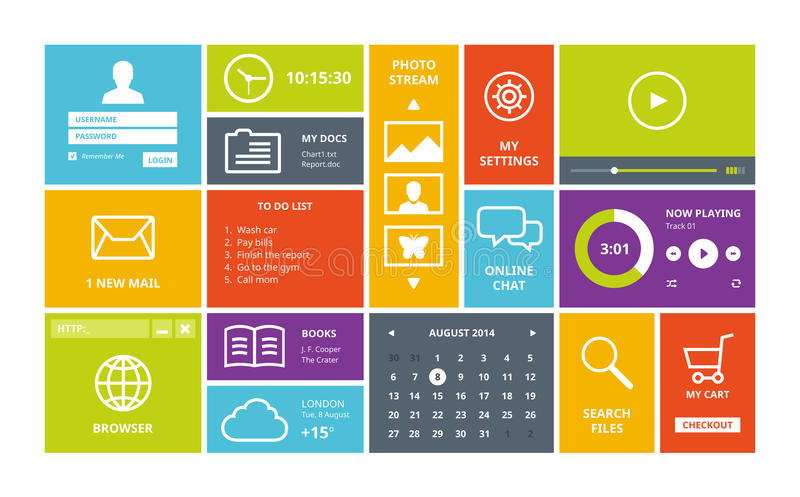Windows 8 modern ui design layout stock vector for Tile layout app