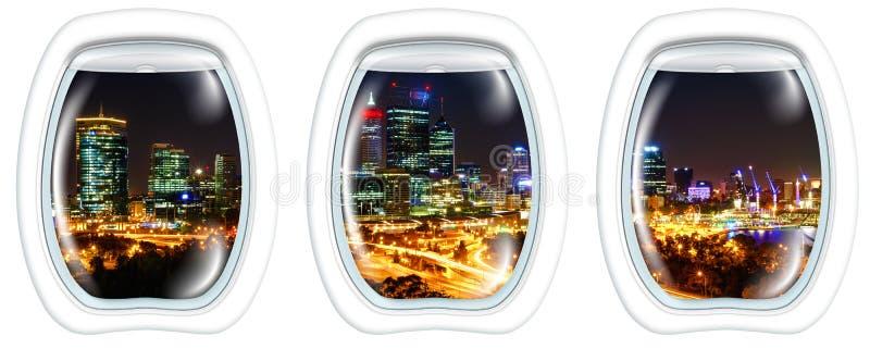 Windows na skyline da noite de Perth foto de stock