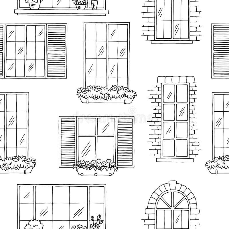 Windows nakreślenia graficzna czarna biała bezszwowa deseniowa ilustracja royalty ilustracja