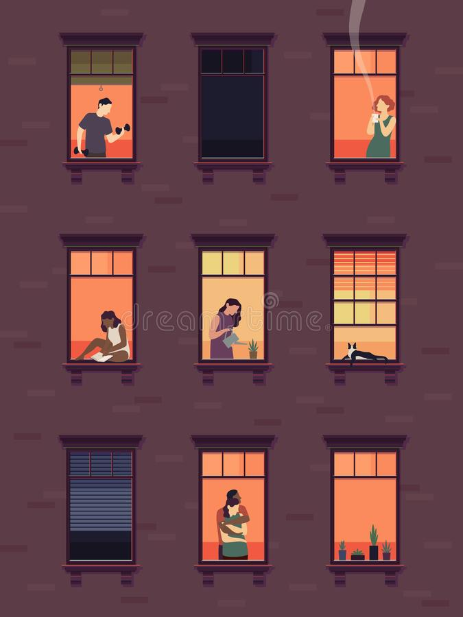 Windows with neighbors. Residential exterior window, neighborhood people talking building group fun indoors apartments. Vector set royalty free illustration