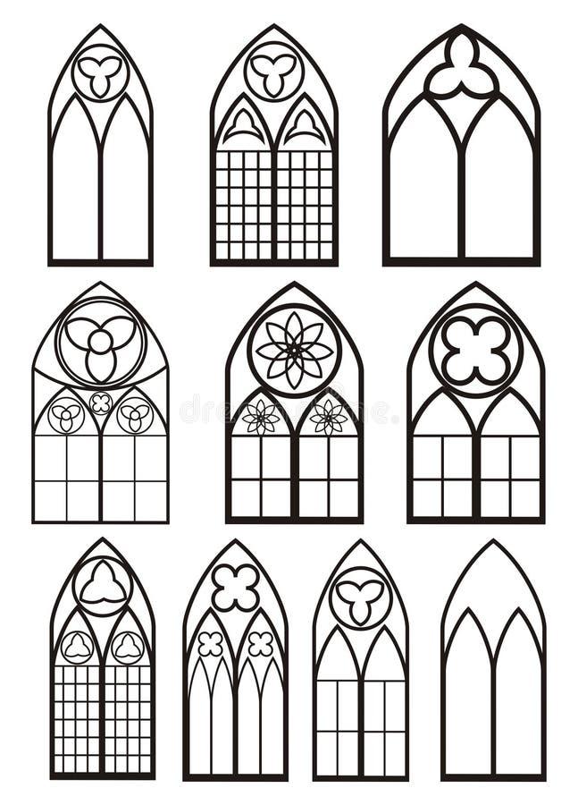 Windows nello stile gotico royalty illustrazione gratis