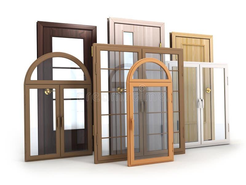 Windows och dörrar stock illustrationer