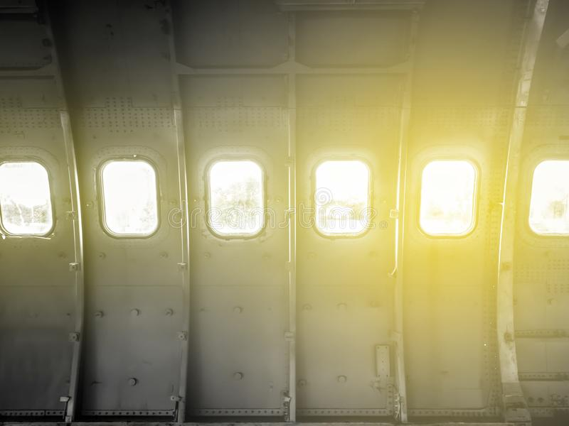 Windows of the old airplane. vintage,.Antique stock photo