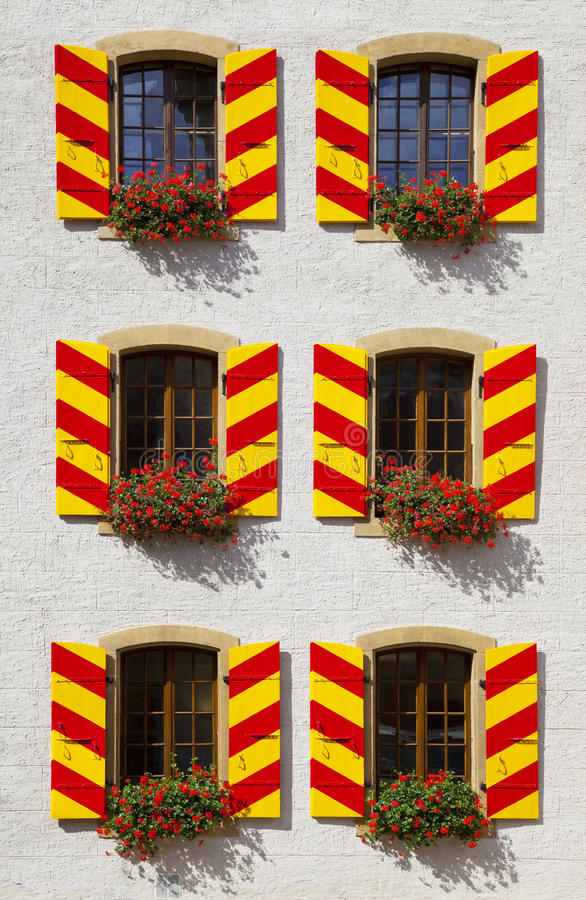 Windows pattern in Neuchatel Castle royalty free stock image