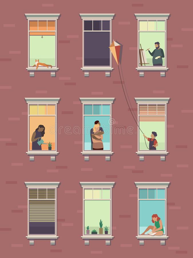 Windows with people. Opened window neighbors people communicate apartment building exterior exercising at home morning. Cartoon illustration stock illustration