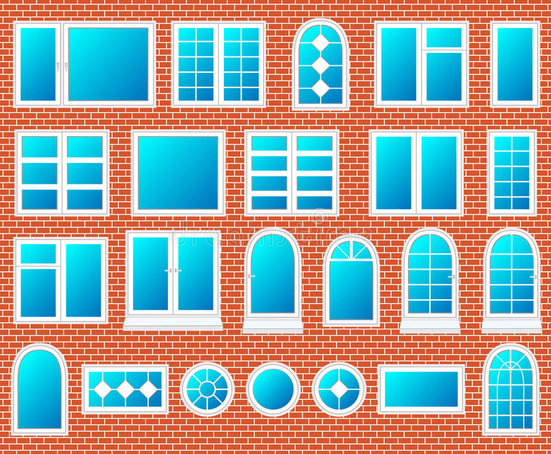Windows plastic set vector stock illustration