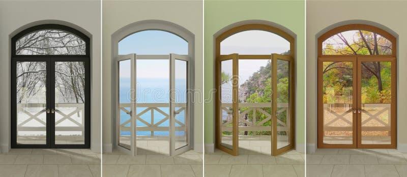 Windows przy różnymi czasami zdjęcie royalty free