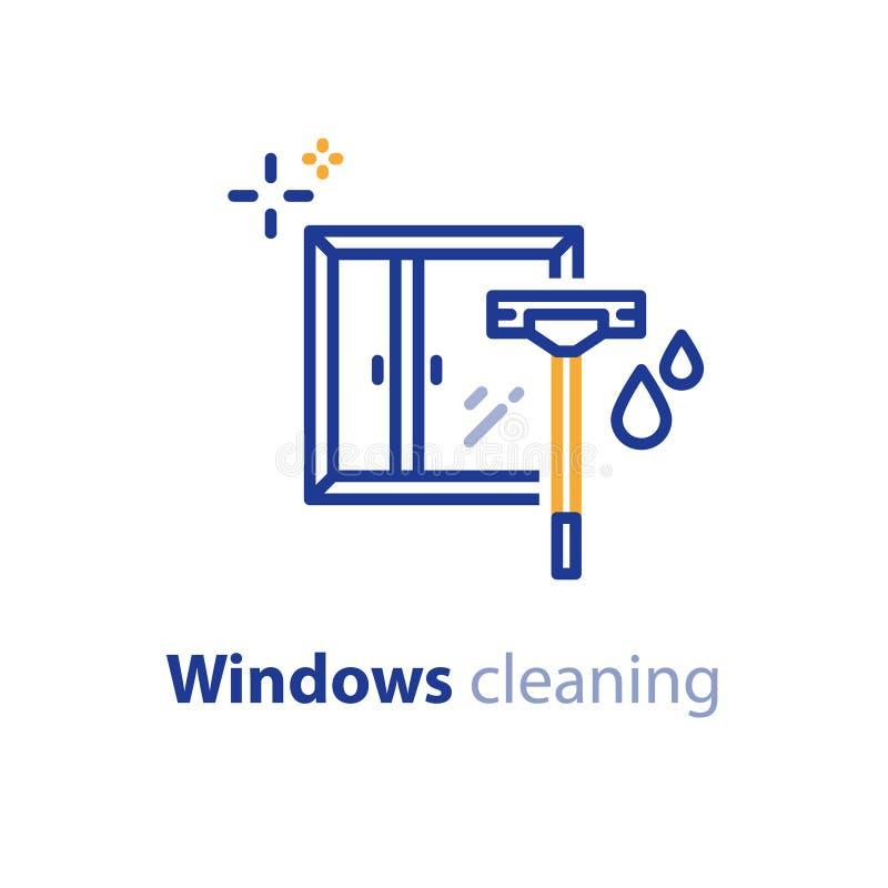 Windows-Reinigung hält Konzeptlinie Ikone, Wischer und Tropfen instand lizenzfreie abbildung