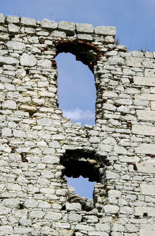 Windows in ruined medieval castle stock photography